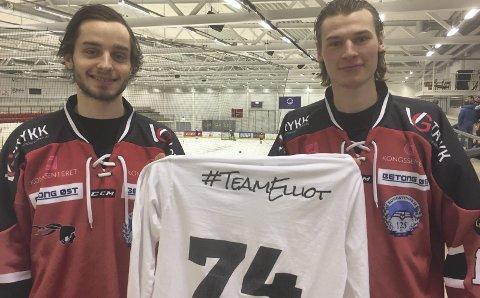 STØTTER: – Vi ønsker selvsagt å støtte #TeamElliot, sier Tom Ivar Hesbråten (t.v.) og Carl Martin Repshus.Foto: Erik mæhlum