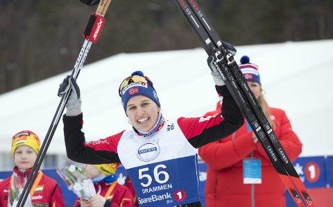 Kunne juble: Tiril Udnes Weng var naturlig nok strålende fornøyd med bronsemedaljen i NM torsdag. FOTO: TERJE PEDERSEN (SCANPIX)