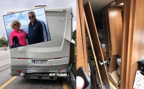Bobilferien til Ottar Johan og Sissel Merethe Unosen fikk en brå slutt i Hamburg. – Vi ble fraktet til sentralsykehuset og fikk en flott behandling og oppfølging, sier de. Foto: Privat