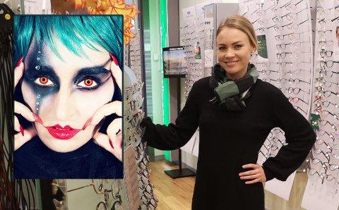 IKKE BARE MORO: Optiker Helen Aune Madsen hos Specsavers på Tista senter advarer mot bruk av fargelinser/morolinser. – Feil bruk kan gi skade på øynene, sier hun.