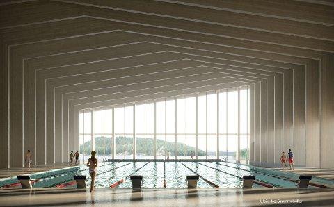 """Illustrasjonen fra Alab og Lala viser et eksempel på svømmehall på Sydsiden. Illustrasjonen ble presentert i forbindelse med """"Mulighetsstudiet for sydsiden""""."""