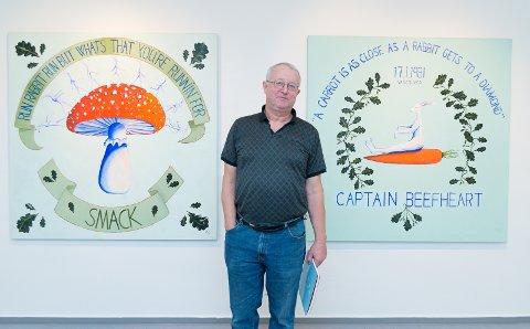 KANINER: Morten Juvet har kaniner som tema i sine malerier.