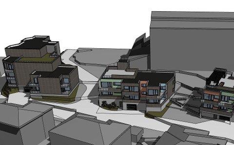 Utbyggar A. utvik sine leilegheiter: Slik vil det sjå ut når alle tre blokkene er ferdige. Foto: Norconsult