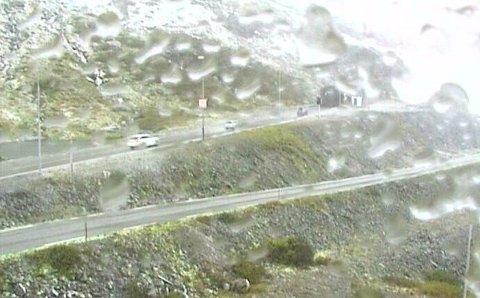 E 134: Det er begynt å legge seg hvitt dekke på Haukelifjell søndag, og det opplyses å blåse kraftig.