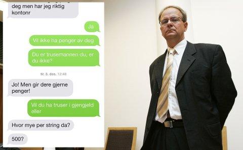 - TRUSEMANNEN ER IKKE FARLIG: Advokat Reidar Steinsvik er forsvarer for den såkalte Trusemannen. Han mener bestemt at hans klient ikke er farlig for noen. Innfelt kan du se utdrag av sms-kommunikasjon han har hatt med en av kvinnene.