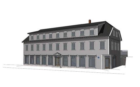 NY FASADE: Torvgata 3, eller Solbekkgården som bygget gjerne blir kalt, planlegges oppgradert. Her ser man blant annet at 2. etasje vil få flere, små vinduer, og at hovedinngangen vil bli plassert midt på bygget.