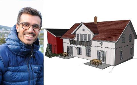 NYTT FORSØK: Slik ser Kim Øverland for seg at tremannsboligen skal se ut. Til venstre står uthuset bevart.