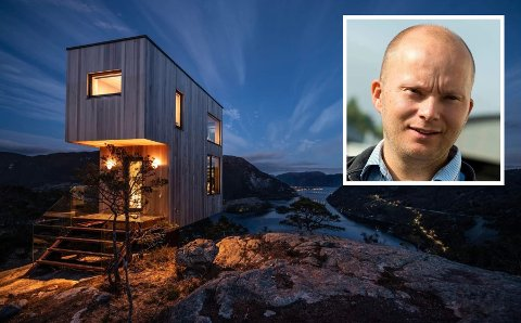 MINIHYTTER: Slik illustrerer Mesto AS hyttene de ønsker å bygge på Gumøy. Daglig leder Willy Amundsen forteller at selskapet hans undersøker byggemuligheter.