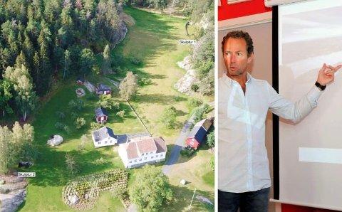 KUNST PÅ TÅTØY: Bildet viser hvor skulpturene skal plasseres. Til høyre er Tollefsen er avbildet under et tidligere besøk på rådhuset hvor han presenterte planene for Tåtøy hovedgård.