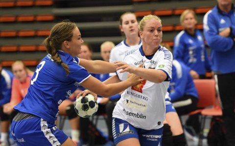 TOPPSCORER: Det holdt akkurat ikke for Trine Haugstad og Skrim Kongsberg borte mot Fana i kampen om serietittelen. Men Skrim-spilleren ble toppscorer i divisjonen med 164 mål. Foto: Ole John Hostvedt