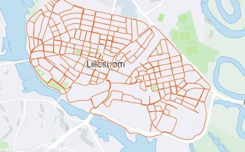 OVERALT: Oversikten i treningsappen viser tydelig at Arne Jørgen Kildahl var innom alle gatene i Lillestrøm.