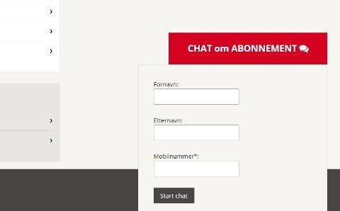 """Chatvinduet åpner du nederst på skjermen inne på """"Min side"""". Du må være innlogga for å få opp chatten."""