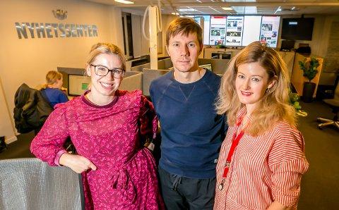 TROMSØ BY-TEAMET: Leder Andreas Høyer, flankert av Tromsø By-journalistene Marte Hotvedt og Mathilde Torsøe.