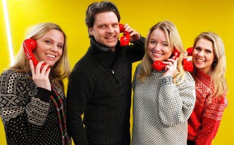 FIN JOBB: Anne Siri Nørstebø, Ola Thorset, Nina Rundsveen og Pernille Storholm Skaret hos Norsk Tippen hadde den trivelige jobben med å ringe rundt til alle de nye millionærene på påskeaften.