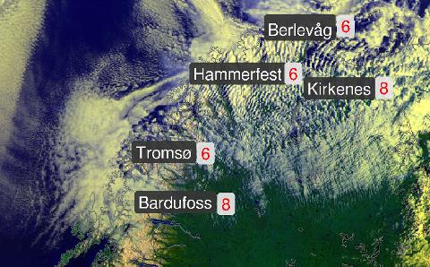 BEDRING I SIKTE: Det var ingen tropestemning i Nord-Norge  fredag morgen, men allerede utpå ettermiddagen vil skyene forsvinne og temperaturen øke. Illustrasjon: Meteorologisk institutt