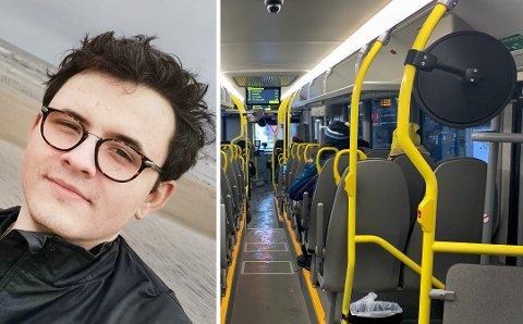 - IDIOTER: Uno Plaudis satt på bussen da han ble plaget av en guttegjeng. - Jeg tenker bare for noen idioter.