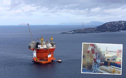 Goliat-plattformen ankres opp i Hammerfest for å utstyres før den settes i produksjon. Innfelt bilder fra en ulykke ved verftet der to mennesker omkom. Foto: ENI Norge/News on request/Den koreanske metallarbeiderunion