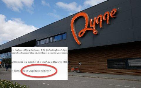 VIL ÅPNE: Flyplassen på Rygge vil gjenåpne i 2021, selv flyplasseierne holder kortene tett til brystet opplyser de at det jobbes aktivt med flere aktører for å gjenåpne flyplassen på vårparten neste år.