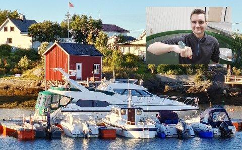 I hjemmehavnen på Sleneset ligger båten til Dan Kristian Larssen (innfelt) klar til han skal på forreteningsreiser. Den går ofte til Bodø for å spare to døgn på en reise.