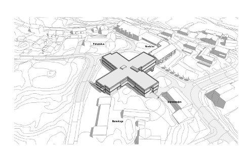 Helseknutepunkt: Godt plassert mellom eksisterende bygg i området er forslaget om å bygge nytt sjukehjem i Moelv. Skissen viser sjukehjemmet midt mellom brannstasjon  Moelv barnehage ((i forkant), Folkets Hus og Moelv bo.