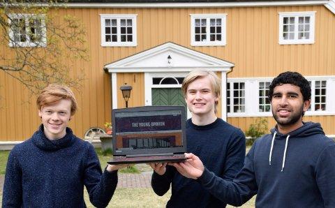 VARSOM: Kristian Takvam Hagen (19), Ola Sæther (18), Shahzaib Mulk (19) vil redigere nettsiden etter Vær varsom-plakaten.
