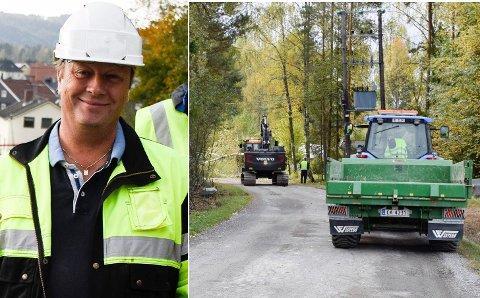 RYDDER: Vaktmesterkompaniet rydder også ved strandveien. Prosjektleder Erik Josephson er ikke i tvil om behovet for oppgradering. Foto: Knut Andreas Ramsrud/Pål Tr. Mannsverk