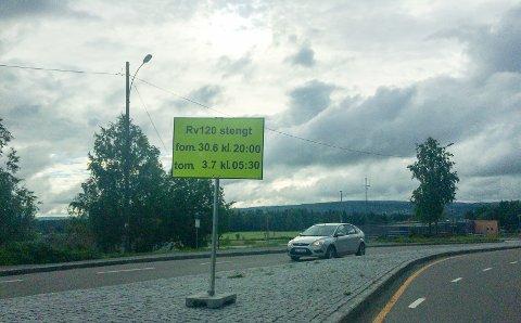 Stenges: Veien fra Skedsmokorset til Lillestrøm stenges i helgen. Foto: RB-tipser