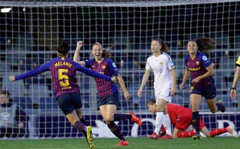 DUGGANS DOBBEL Toni Duggan scoret de to første målene til Barcelona da LSK Kvinner ble slått på Mini Estadi onsdag kveld.  FOTO: AP