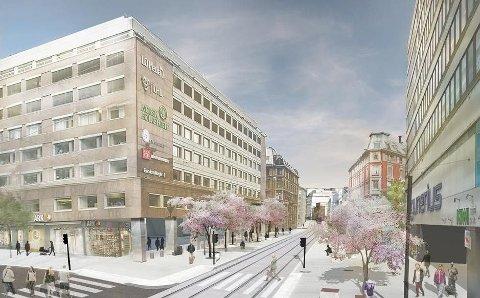 PUSSES OPP: Storgata i Oslo skal pusses opp, og slik skal det bli når den trafikkerte kollektivgata står ferdig om to år. Foto: Bymiljøetaten