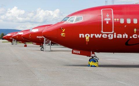 Gardermoen 20200709.  Norwegian har en rekke fly stående på bakken ved Gardermoen. Foto: Vidar Ruud / NTB scanpix