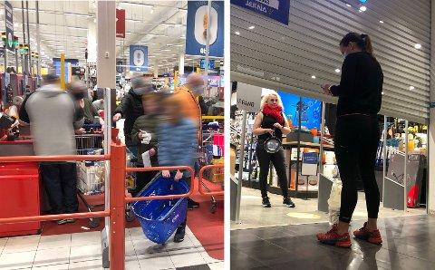 Påskehandelen på forskjellig vis. På shop express på Obs er det opp til kundene selv å holde avstand. Det var ikke lett lørdag. På Jessheim storsenter kjøper Susanne Pallesen ny stekepanne av Heidi Lønberg på Jernia med klikk og hent.