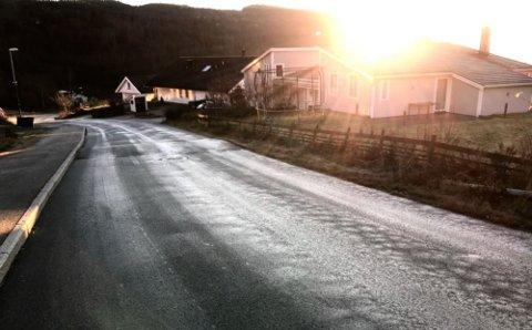 OGSÅ GLATT VEI: Bilveien var heller ikke strødd i Allegodtveien 1. desember.