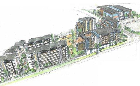 NYE BOLIGER: Slik ser planene ut for Klokkerjordet. 340 boliger skal bygges i ulike høyder: To, fire og seks etasjer, i tillegg til et signalbygg på åtte etasjer.