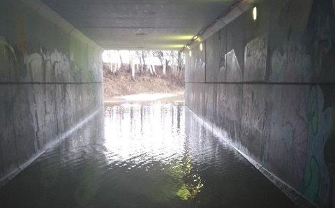 OVERSVØMMELSE: Tirsdag var det uframkommelig i undergangen ved skolene etter flere dager med regnvær. Dette bildet ble tatt klokken 12.40.