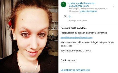 SVINDEL: Da Pernille Homanberg først mottok denne e-posten trodde hun først den var ekte, men da hun fikk beskjed om at hun hadde vunnet en iPhone, avslørte hun det som svindel.