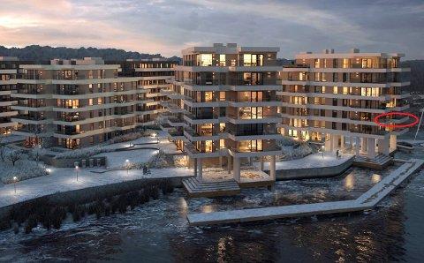 FRAMTIDSDRØMMEN: Denne frontleiligheten i tredje etasje i A3-bygget i Nye Kilen Brygge blir Anne Vedviks og mannens hytte før jul 2020, og om noen år den det nye hjemmet deres. (Illustrasjon: Miliarium Bolig)