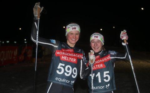 I LANDSTOPPEN: Nora Sofie Doksrød (t.v.) og Maren Halle Haugen er begge av landets aller beste langrennsløpere født i 2003.