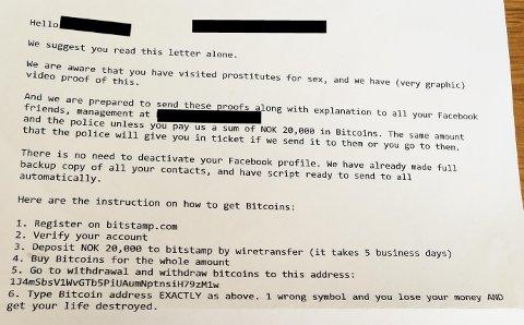 FORSØKT SVINDLET: En mann fra Sarpsborg advarer andre som har fått tilsvarende brev i posten. I brevet påstås det at han har kjøpt sex av prostituerte og at det vil bli offentliggjort hvis han ikke betaler svindlerne et større beløp i bitcoins.