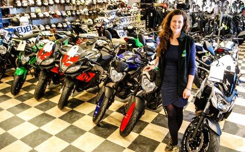 Lene Marie Graarud har stor suksess med motorsykkelbutikken i Haugeveien.