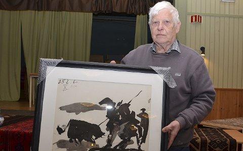 PICASSO hjalp lite: Denne nummererte og signerte Picasso-grafikken var auksjonarius Leif Øgrens største trekkplasser. Men askimingene og indre østfoldingene lot seg ikke friste. Kun åtte mennesker kom på auksjonen i Folkets Hus søndag.