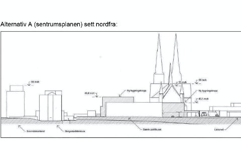 HØYT: Skissen viser at utbyggerne ønsker at deler av bygget blir seks etasjer og omtrent like høyt som Kverndalsbygget og Borgestadklinikken, men rådmannen går inn for fem.
