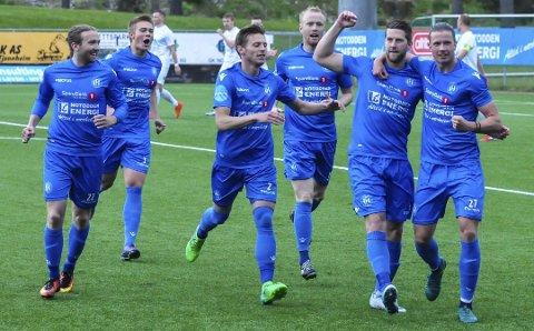Leverte: NFK leverte på gressmatta på hjemmebane søndag. Her har kaptein Steffen Jenssen satt kampens første mål i kassa etter sju spilte minutter.
