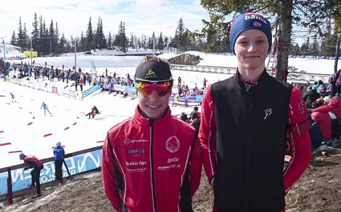 Sjetteplass: Even Uhlin-Engstu (t.v.) gikk inn til en sterk sjetteplass da skiskyttersesongen ble avsluttet med Liatoppen skifestival. Sander Steinmoen ble nummer 25 av de 83 som stilte til start i 15-årsklassen.