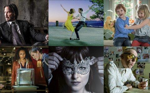 KOMMER: Filmene «John Wick», «La La Land», «Karsten og Petra», «Trio», «Fifty shades darker» og «Trainspotting» er seks av utrolig mange filmer som kommer til Notodden kino i løpet av 2017. fotomontasje