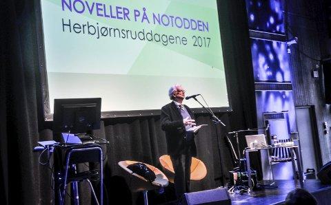 Gratulerte: 2017: Velkjente Jan Erik Vold gratulerte hele Notodden med Herbjørnsruddagene.