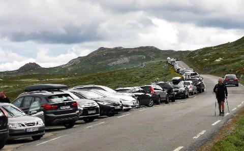 Slik så det ut langs veien ved Stavsro ved 13.30-tiden torsdag. Og det var flere bilder utenfor bildet.