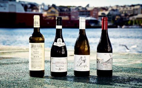 Ukens viner: Fra venstre Terras Gauda O Rosal 2018, Nuiton-Beaunoy, Bourgogne Hautes Côtes de Beaune, Grand Cuvée 2017, Oliver Zeter Sauvignon Blanc 2018 og Planeta Etna 2017.