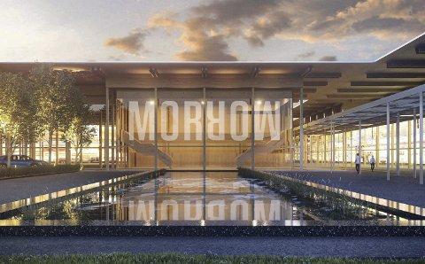 Gigafabrikken som skal bygges ved ny E18 mellom Tvedestrand og Arendal tenger mer plass. Illustrasjon: RIFT/NSW Arkitektur