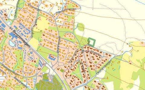 Kart: Her merka med grønt ligg det forslegne området for bustadbygging, men som no er skrinlagt. Området ligg rett ovanfor Stølslie 2, men under fjellgrensa.