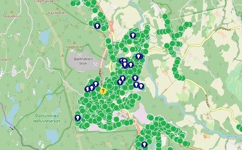 STATUSPÅHAGAN:Utsnitt av kommunens veilyskart tirsdag formiddag. Blå sirkler med hvit tegning viser at det har kommet ei feilmelding.